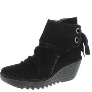 FLY LONDON YAMA BLACK SUEDE WEDGE PLATFORM BOOTIES SIZE 10.5/11